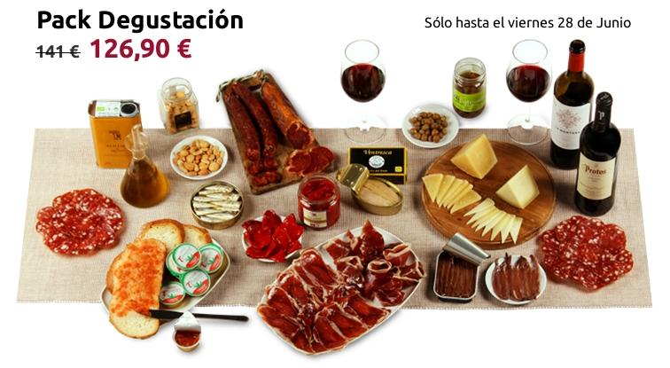 Foto del pack degustación servido en la mesa