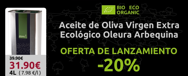 OFERTA -20% LATA 4 LITROS ACEITE ECOLOGICO DE OLIVA VIRGEN EXTRA ARBEQUINA OLEURA
