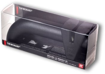 TwinSharp sharpener, in its plastic-covered cardboard box