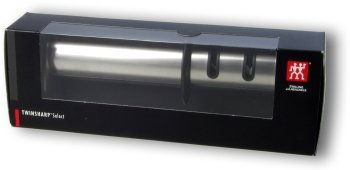 TwinSharp Select sharpener, in its plastic-covered cardboard box