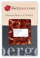 Chorizo ibérico de bellota de Extremadura en lonchas en un estuche