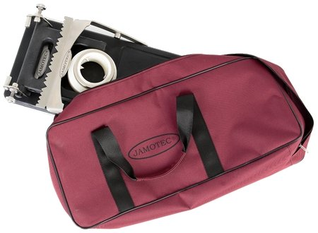 The Jamotec JP Luxe ham holder and its carrying bag