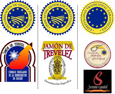 Labels and seals of the different types of serrano jamon