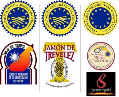 Etiquetas y sellos de los diferentes tipos de jamón serrano