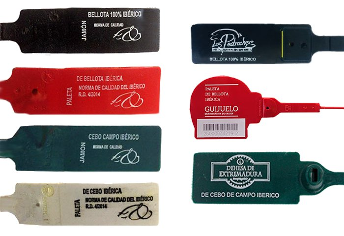 Precintos del jamón ibérico, cada color identifica una calidad: importante a la hora de comprar