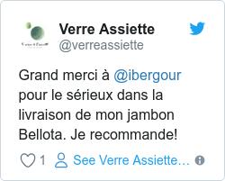 Grand merci à @ibergour pour le sérieux dans la livraison de mon jambon Bellota. Je recommande!